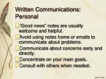 written communications personal