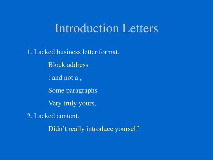 Introduction letters