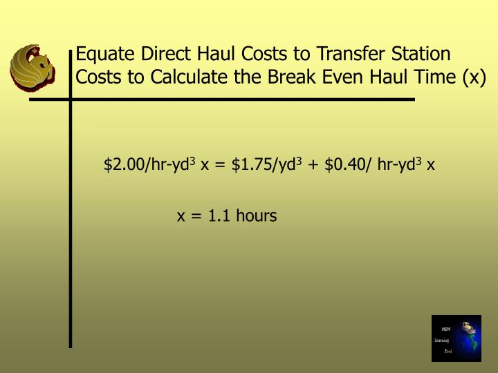 Equate Direct Haul Costs to Transfer Station Costs to Calculate the Break Even Haul Time (x)