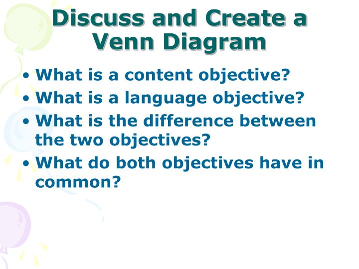 Discuss and create a venn diagram