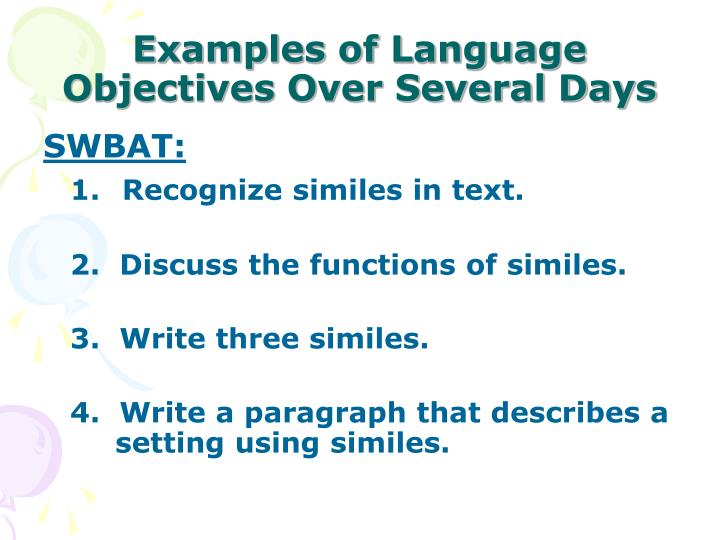 Examples of Language Objectives Over Several Days