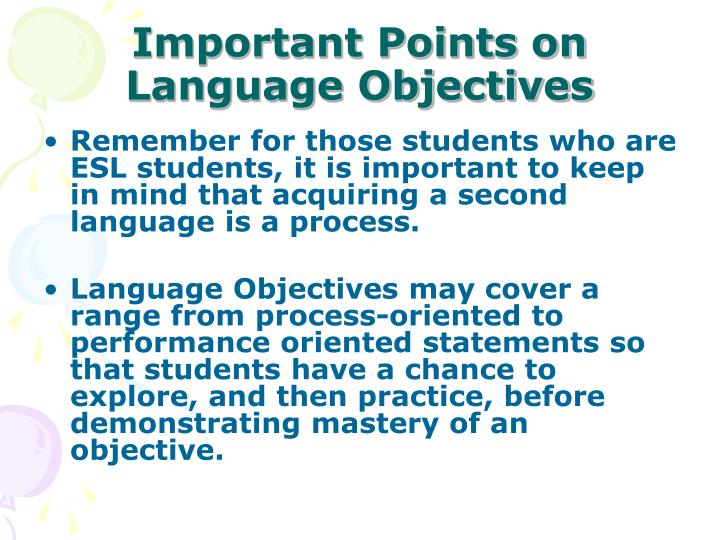 Important Points on Language Objectives