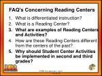 faq s concerning reading centers