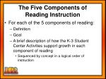 the five components of reading instruction