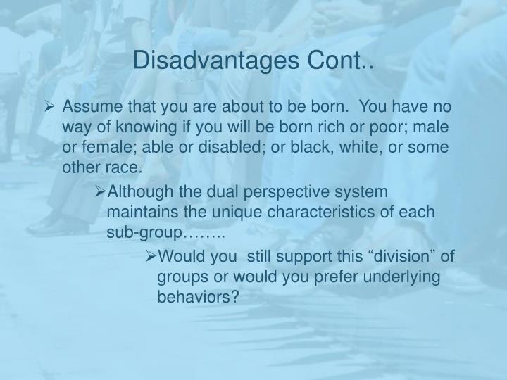 Disadvantages Cont..