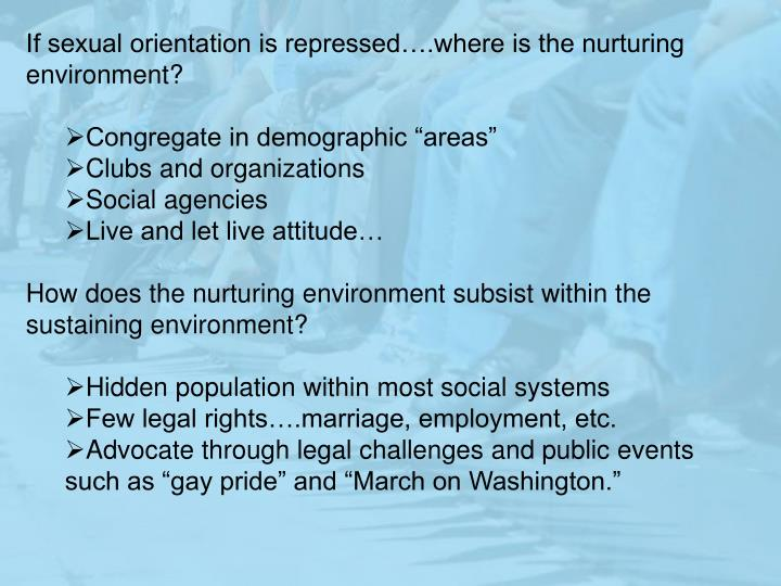 If sexual orientation is repressed….where is the nurturing