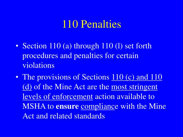 110 Penalties