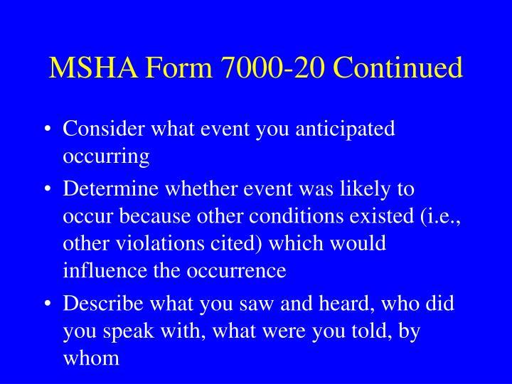 MSHA Form 7000-20 Continued