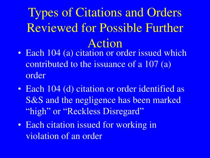 Types of Citations and Orders Reviewed for Possible Further Action
