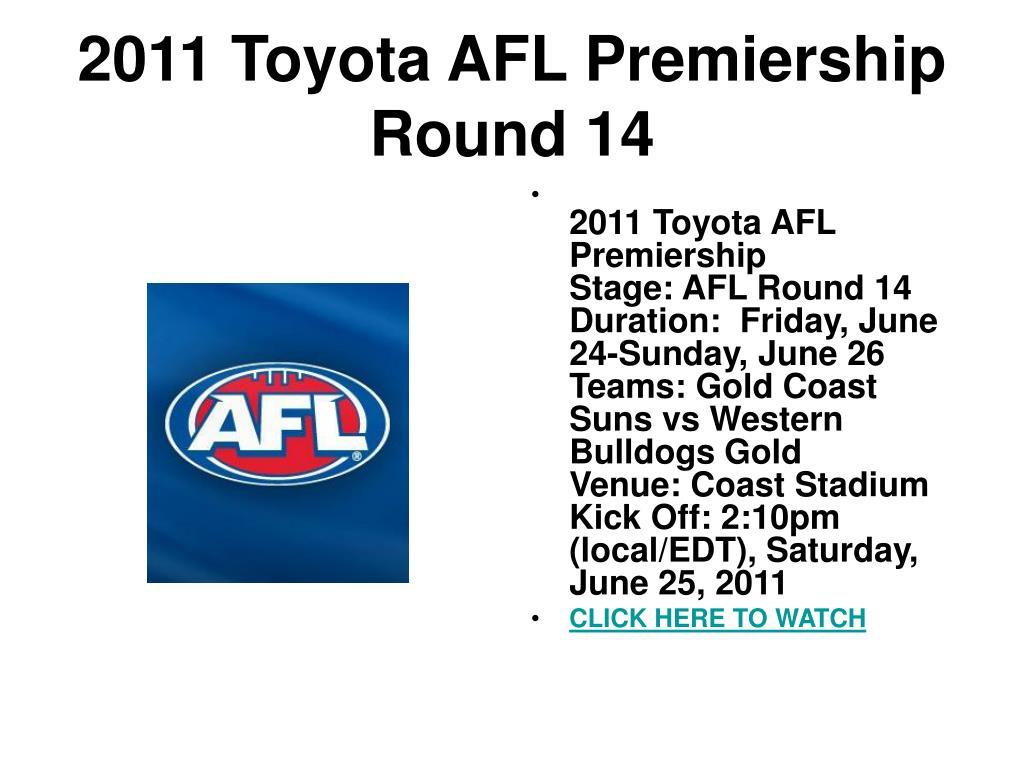 2011 toyota afl premiership round 14 l.
