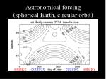 astronomical forcing spherical earth circular orbit