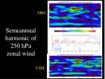 semiannual harmonic of 250 hpa zonal wind