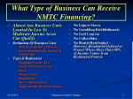 what type of business can receive nmtc financing
