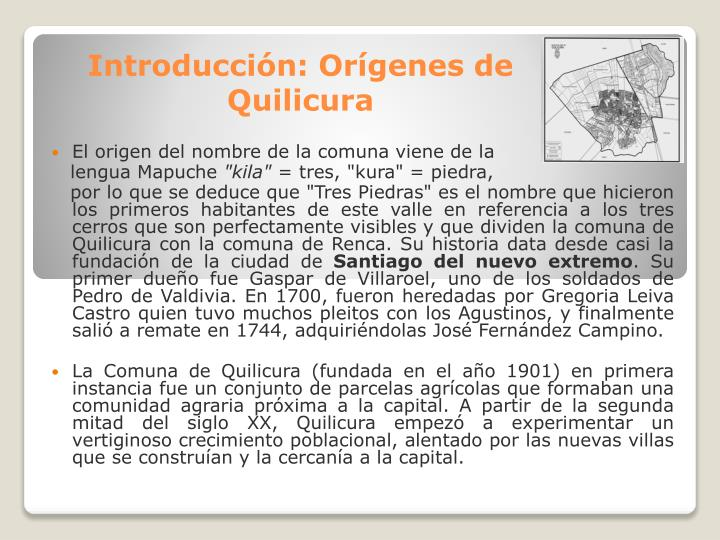 Introducci n or genes de quilicura