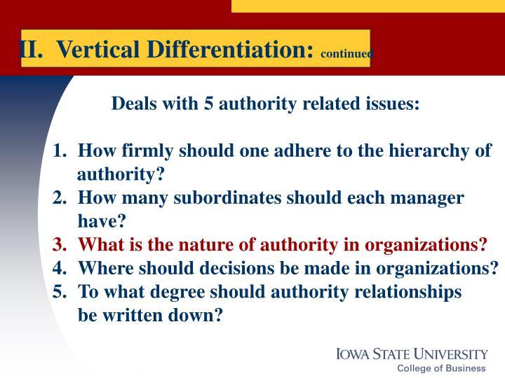 II.  Vertical Differentiation: