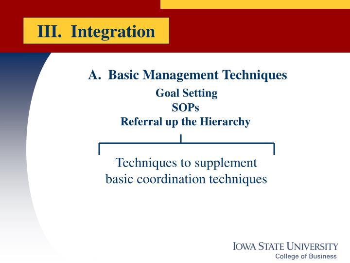 III.  Integration