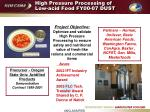 high pressure processing of low acid food fy00 07 dust