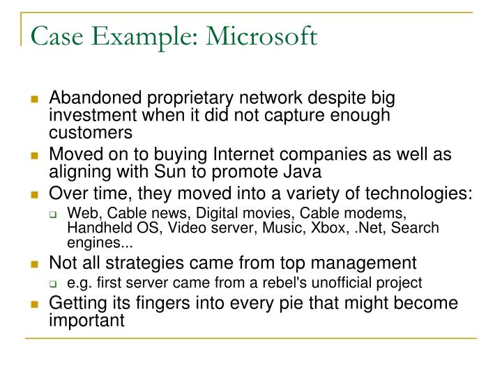 Case Example: Microsoft