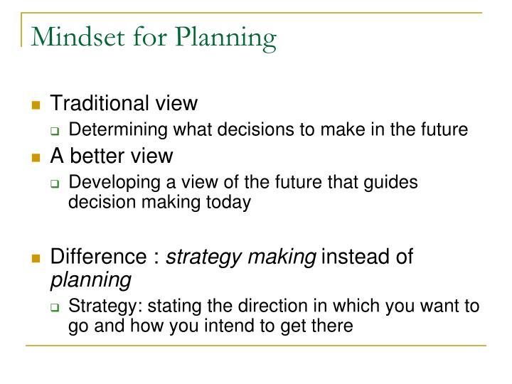 Mindset for Planning