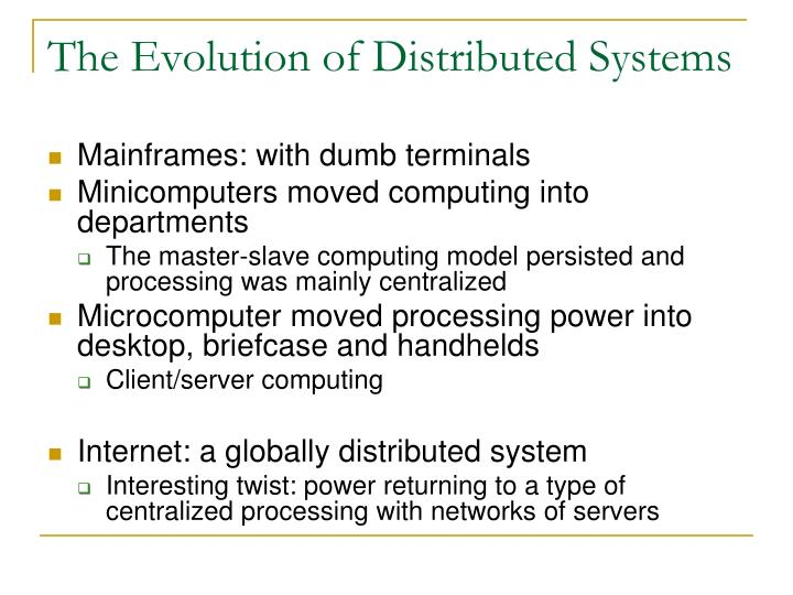 The Evolution of Distributed Systems
