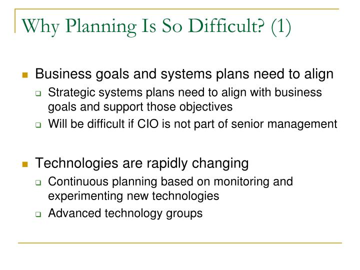 Why Planning Is So Difficult? (1)
