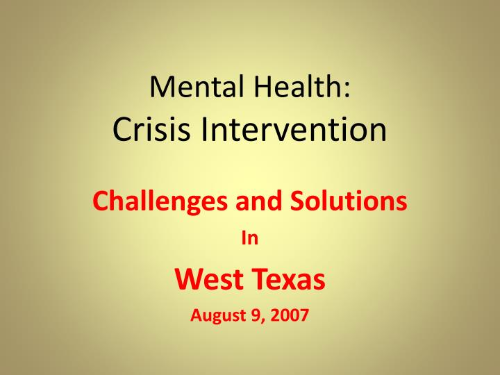 Mental health crisis intervention