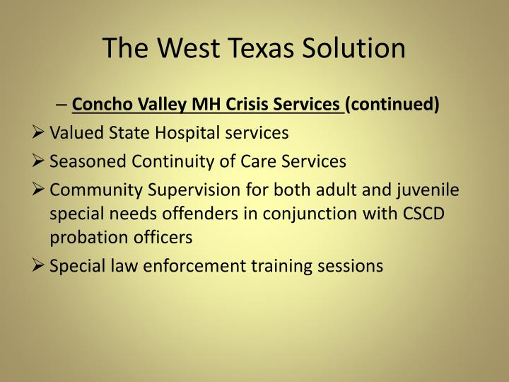 The West Texas Solution