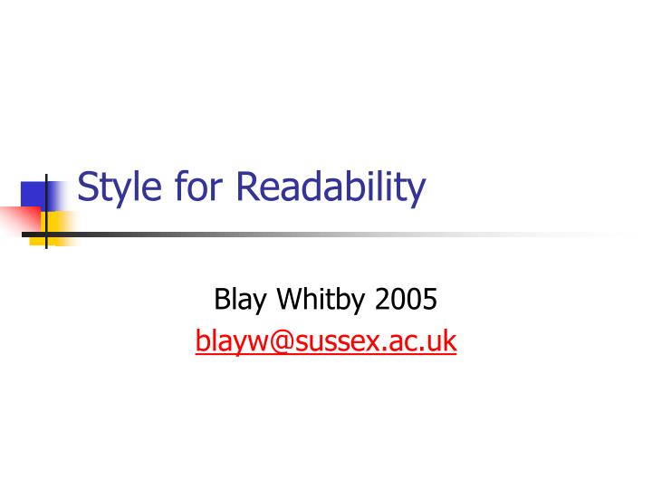 style for readability n.
