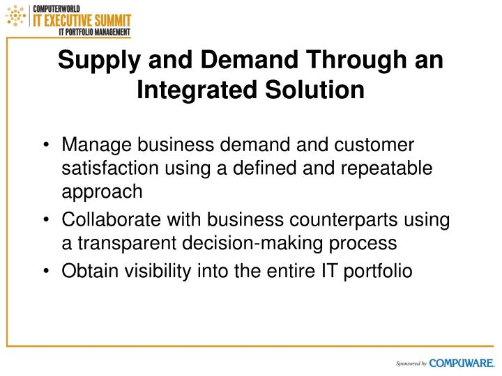 Supply and Demand Through an Integrated Solution