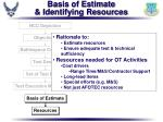 basis of estimate identifying resources