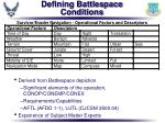 defining battlespace conditions
