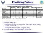prioritizing factors