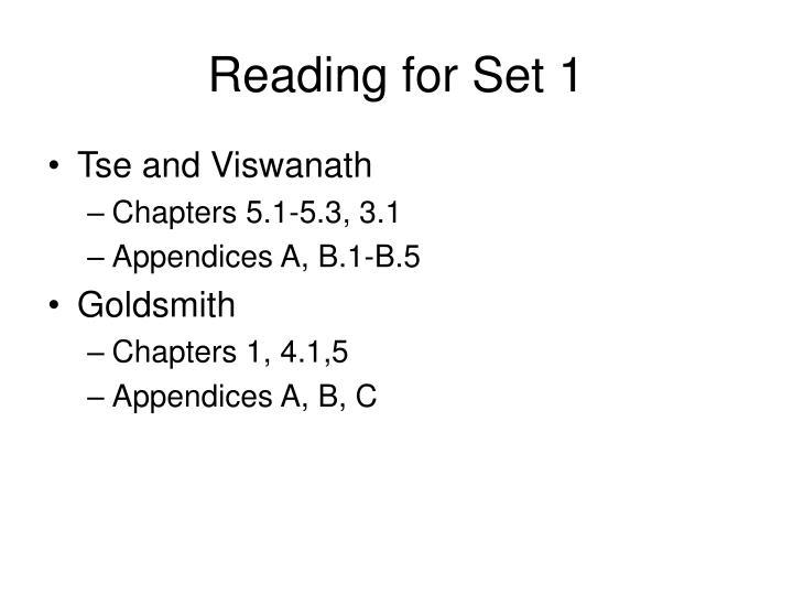 Reading for Set 1
