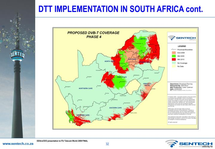 DTT IMPLEMENTATION IN SOUTH AFRICA cont.