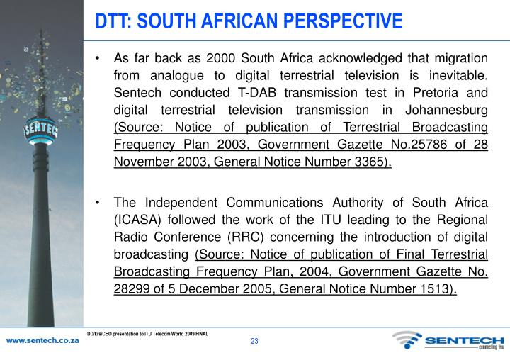 DTT: SOUTH AFRICAN PERSPECTIVE