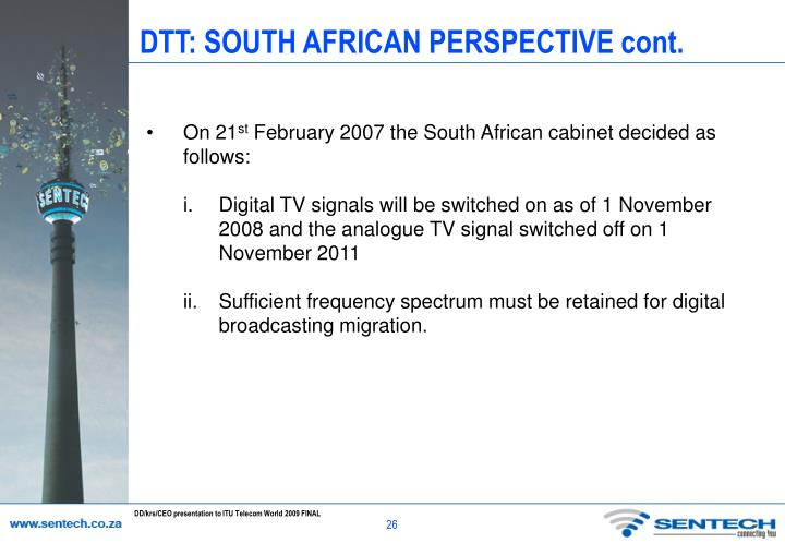 DTT: SOUTH AFRICAN PERSPECTIVE cont.