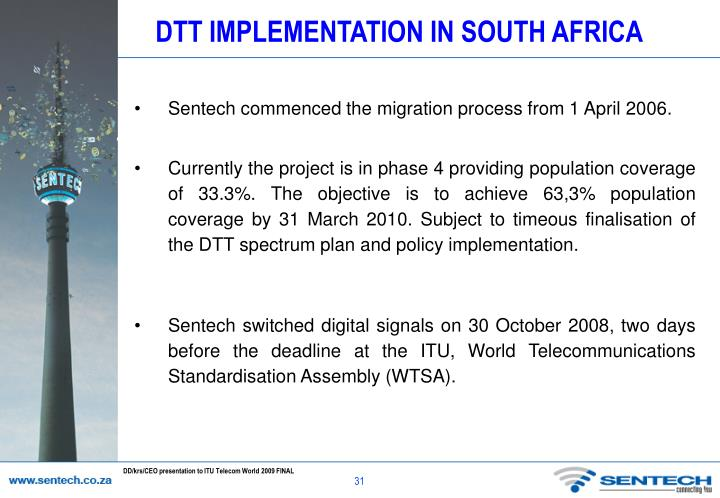 DTT IMPLEMENTATION IN SOUTH AFRICA