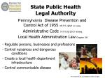 state public health legal authority