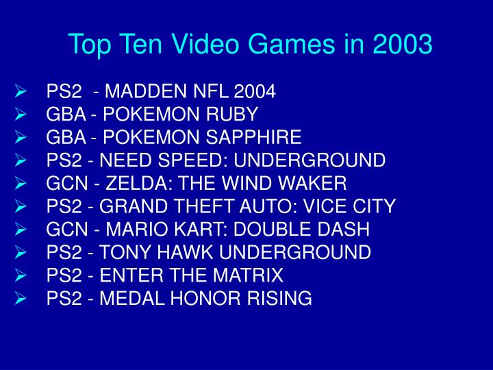 Top Ten Video Games in 2003