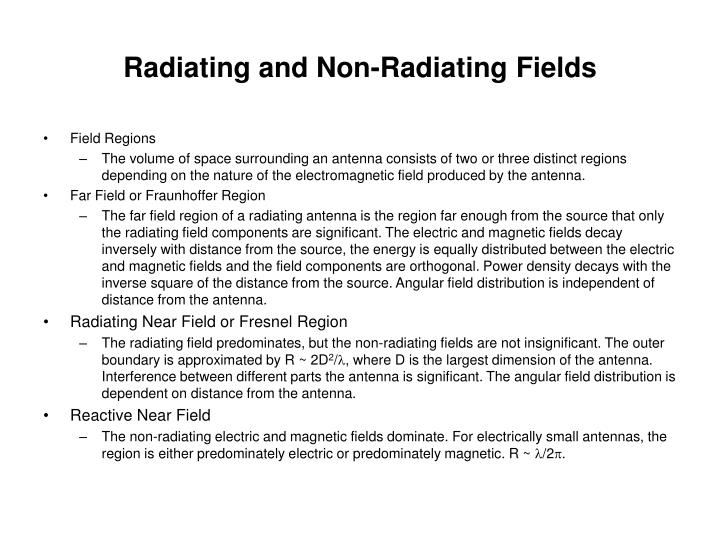Radiating and Non-Radiating Fields