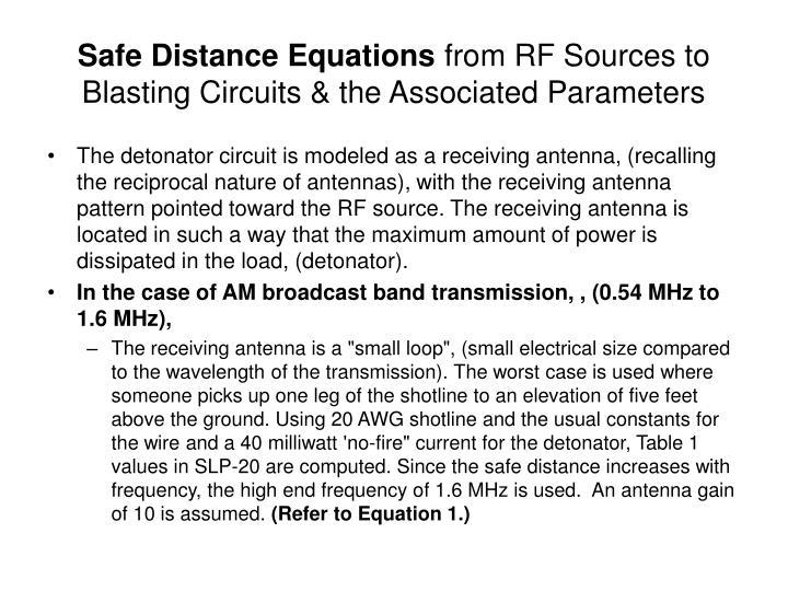 Safe Distance Equations