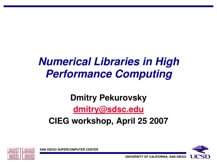 numerical libraries in high performance computing