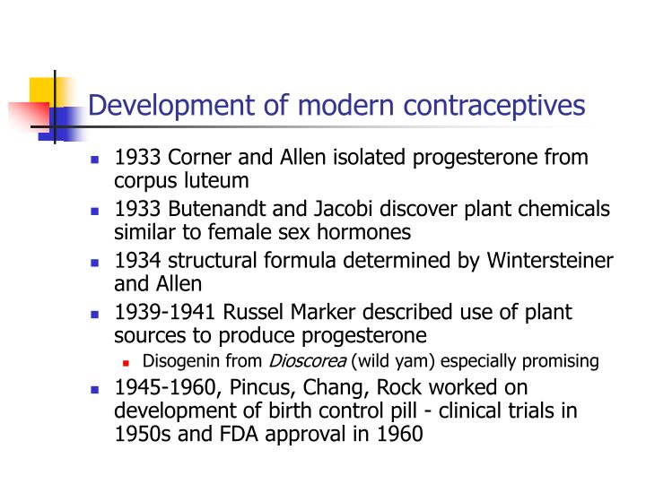 Development of modern contraceptives