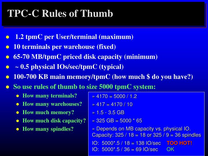 TPC-C Rules of Thumb