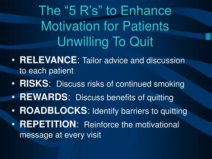 "The ""5 R's"" to Enhance Motivation for Patients"