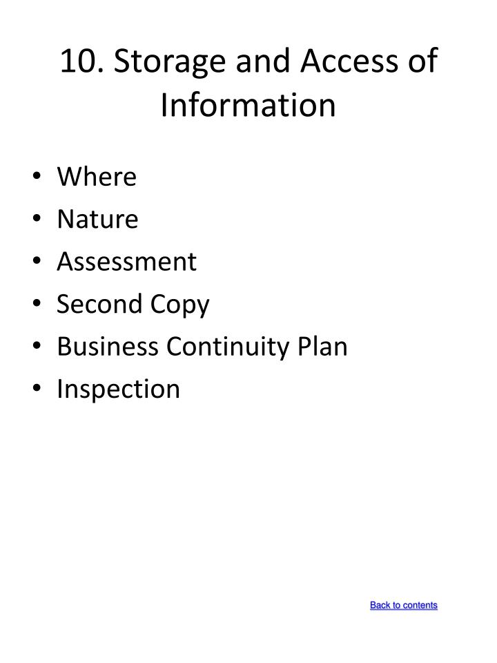 10. Storage and Access of Information