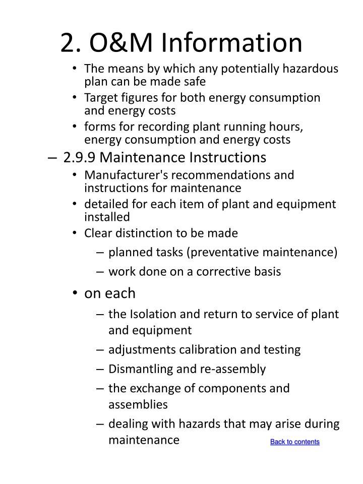 2. O&M Information