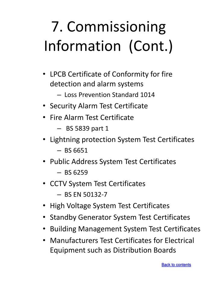 7. Commissioning Information  (Cont.)