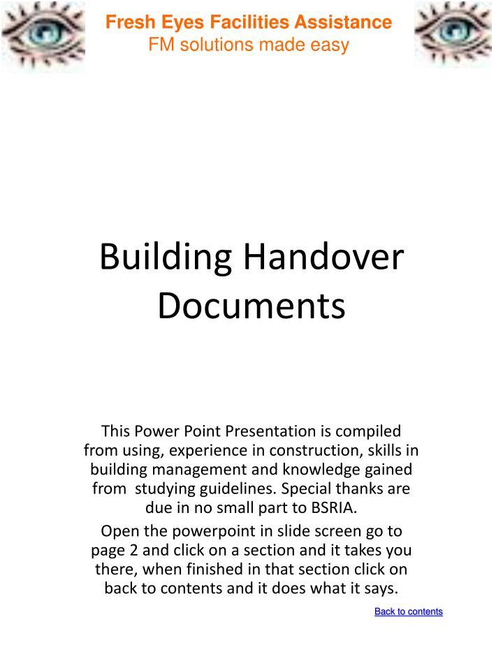 Building handover documents