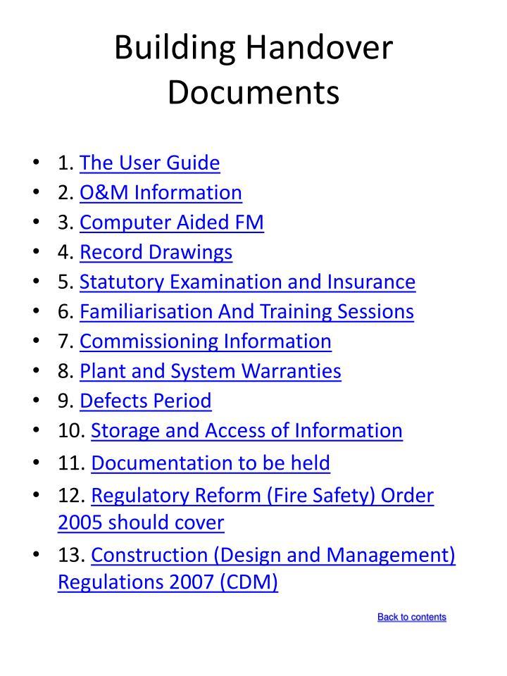 Building handover documents1